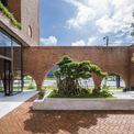 <p> Khối cơ sở làm lớp đệm bên dưới được sử dụng làm quán cà phê với không gian khu vườn ngoài trời và diện tích trong nhà.</p>