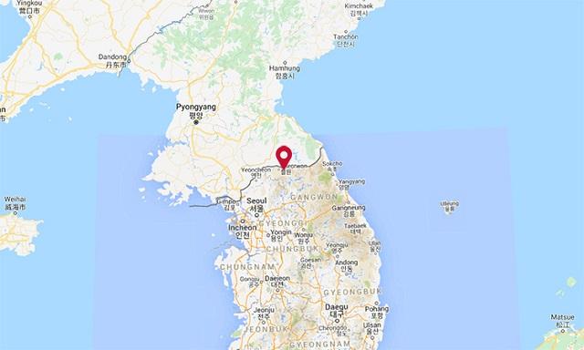 Vị trí thị trấn Cheorwon (đánh dấu đỏ) ở biên giới Hàn Quốc. Đồ họa: Google.
