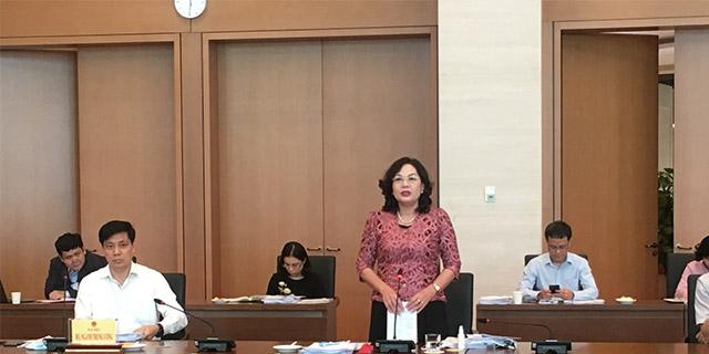 Phó thống đốc Ngân hàng Nhà nước Nguyễn Thị Hồng phát biểu tại phiên họp. (Ảnh - Mỹ An).