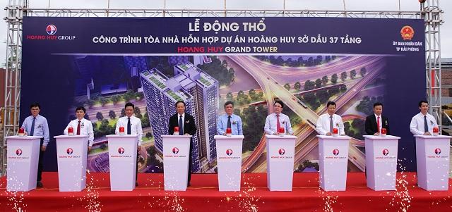 Buổi lễ động thổ dự án Hoang Huy Grand Tower. Ảnh: Tài chính Hoàng Huy.