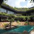 <p> Tại sảnh, một bức tường cũ từng bị rỉ nước đã được chuyển thành một khoảng sân trong xanh kết hợp thác nước và hồ bơi. Các thành viên gia đình được chào đón với những cây rừng mưa nhiệt đới và âm thanh của dòng nước, có thể được thưởng thức từ mọi góc cạnh trong nhà.</p>