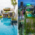 <p> Một bể bơi trên mái được thiết kế dọc theo chiều dài ngôi nhà, phục vụ khách thuê condotel.</p>