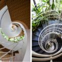 <p> Cầu thang hình trôn ốc kết nối các tầng.</p>
