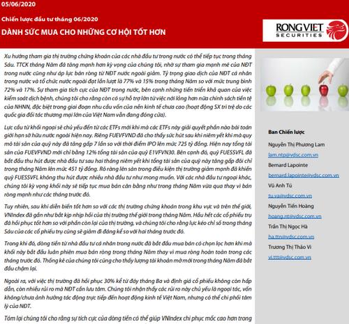 VDSC: Chiến lược đầu tư tháng 6/2020