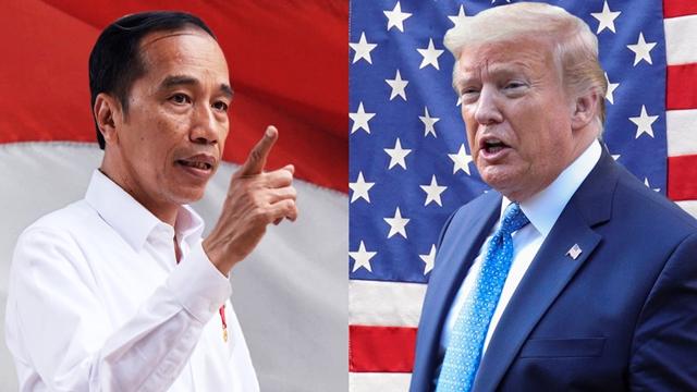 Tổng thống Indonesia Joko Widodo và người đồng cấp Mỹ Donald Trump. Ảnh: AP/Reuters.