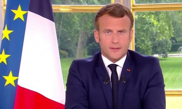 Tổng thống Pháp Emmanuel Macron phát biểu trên truyền hình nhà nước hôm 14/6. Ảnh: Reuters.
