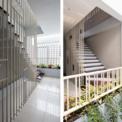 <p> Cầu thang được bố trí gọn gàng trên bức tường bên trái của ngôi nhà. Ở tầng đầu tiên, cầu thang ziczac (hình xương cá) bằng thép không gỉ được sử dụng, có thể nhìn xuyên qua để tăng kết nối trong không gian, mở rộng diện tích của tầng một và góp phần làm nổi bật phòng khách.</p>