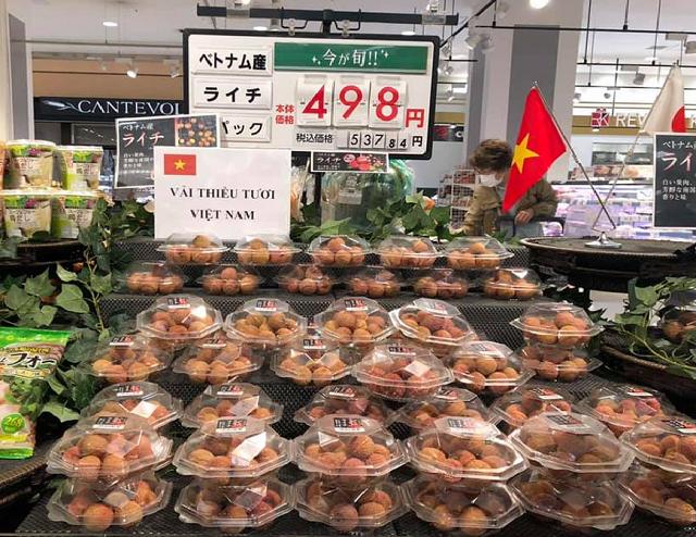 Vải thiều Việt Nam được bán tại siêu thị Nhật Bản