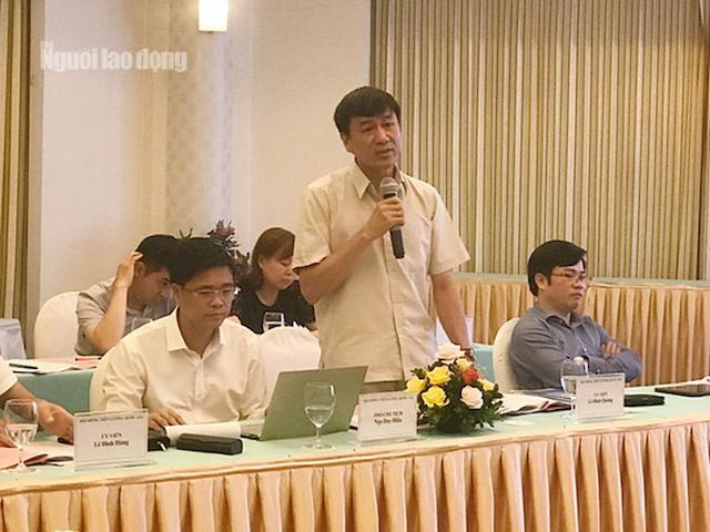 Đại diện Tổng Liên đoàn Lao động Việt Nam phát biểu.