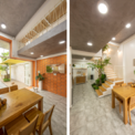 <p> Khoảng cách đệm giữa các mái nhà làm giảm đáng kể lượng nhiệt vào nhà. Ở tầng trệt, từ cổng đến phòng khách là không gian mở rộng của quầy hàng đồ uống khi cần thiết.</p>