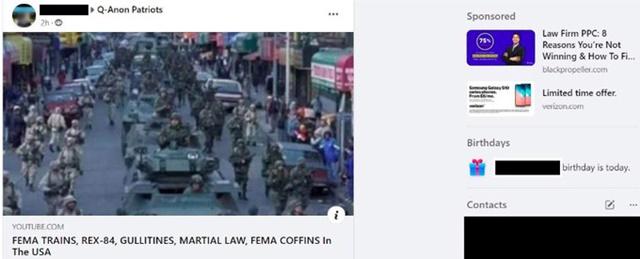 Quảng cáo của Verizon xuất hiện cạnh bài đăng mang nội dung thù địch trên Facebook. Ảnh: ADL