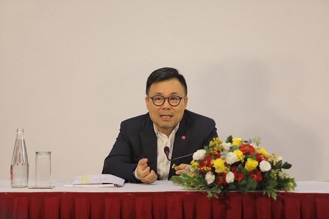 Ông Nguyễn Duy Hưng, Chủ tịch Chứng khoán SSI làm chủ tọa đại hội. Ảnh: SSI.