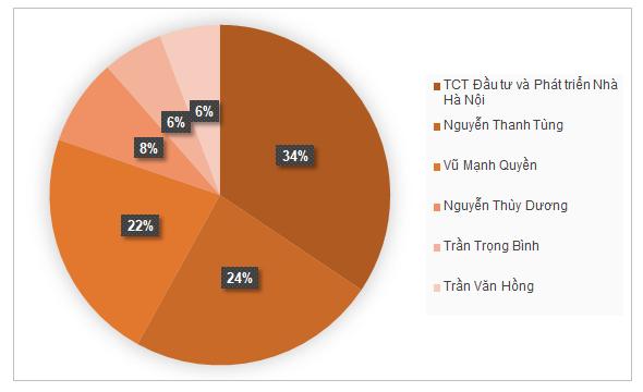 Hai thành viên HĐQT là ông Vũ Mạnh Quyền và Trần Trọng Bình lần lượt nắm 19,4% và 5% vốn. Nguồn: