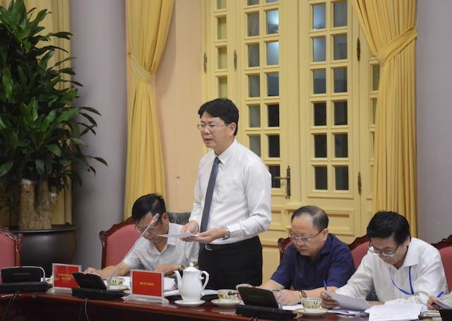 Thứ trưởng Bộ Tư pháp Nguyễn Thanh Tịnh tại buổi Họp báo. Ảnh: VGP.