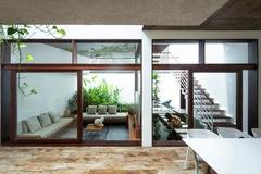 Ngôi nhà bao quanh bởi cây, mọi không gian đều có màu xanh của cây lá
