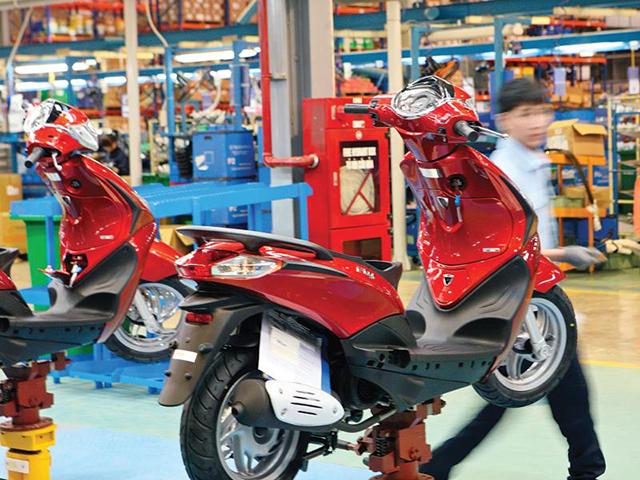 Sản xuất tại Nhà máy Piaggio Việt Nam (Khu công nghiệp Bình Xuyên, Vĩnh Phúc). Ảnh: Đức Thanh