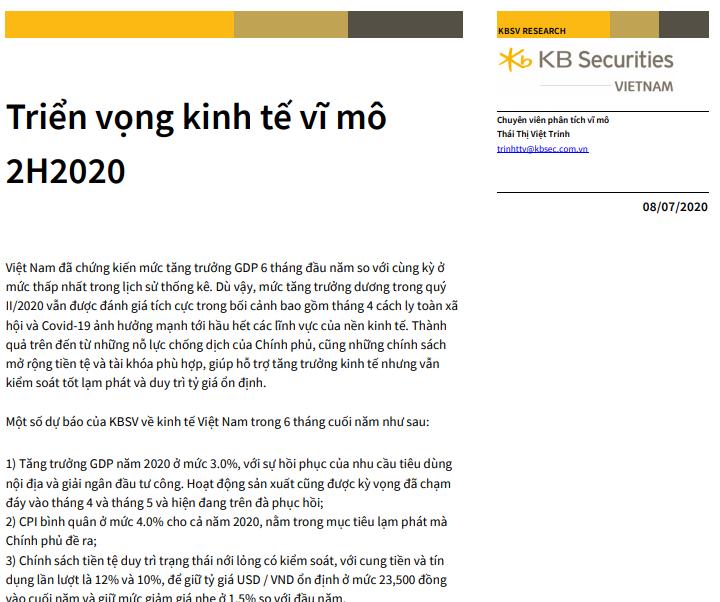 KBSV: Triển vọng kinh tế vĩ mô 6 tháng cuối năm 2020