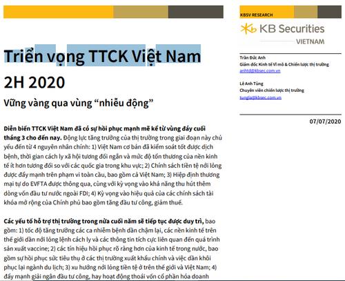 KBSV: Triển vọng TTCK Việt Nam 6 tháng cuối năm