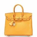 """<p class=""""Normal""""> Chiếc túi da Hermes đắt nhất được bán trong buổi đấu giá với 109.500 USD.<span>Chiếc Metallic Bronze Chèvre Leather Birkin 25 đã được bán vào ngày 12/12/2017, tại Christie's Paris.</span></p>"""