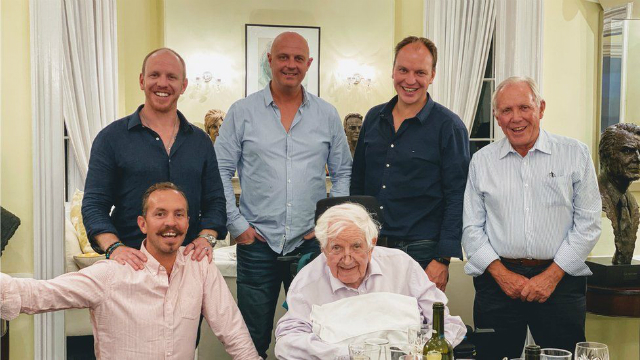 A recent boys night in: Sir Jack with his son-in-law and grandsons