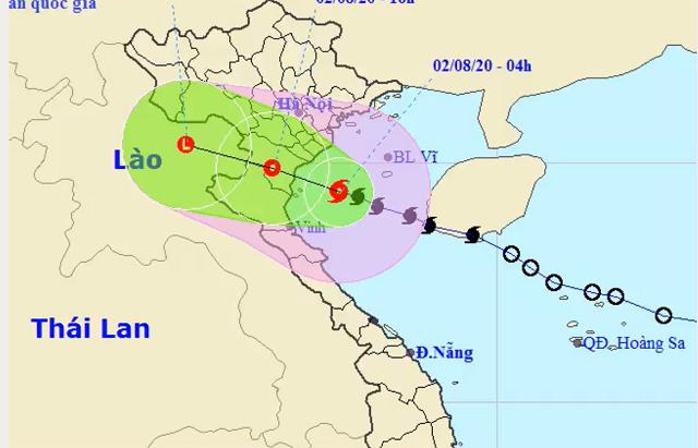Bão số 2 đổ bộ vào các tỉnh từ Ninh Binh đến Nghệ An vào đầu giờ chiều 2/8. NHCMF.