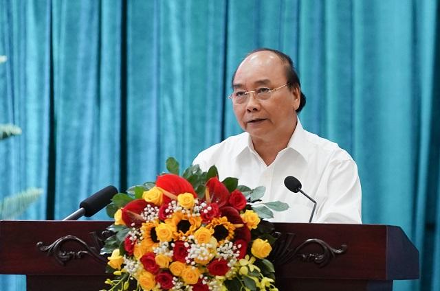 Thủ tướng kết luận cuộc làm việc với 13 tỉnh, thành phố ĐBSCL. - Ảnh: VGP/Quang Hiếu.