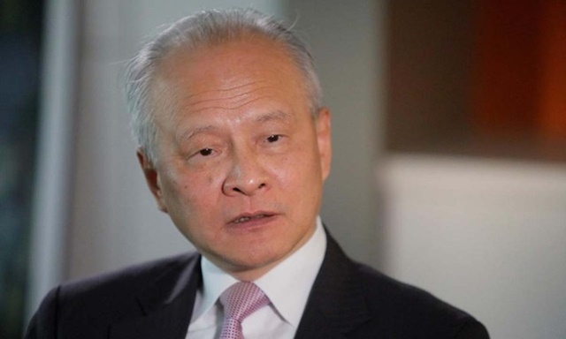 Đại sứ Trung Quốc tại Mỹ Thôi Thiên Khải trong một cuộc phỏng vấn tại Washington hồi tháng 11/2018. Ảnh: Reuters.
