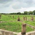 <p> Hàng trăm nền đất khác thuộc dự án đã được dựng khung móng dang dở, cỏ mọc um tùm.</p>