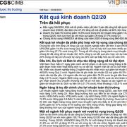VNDirect: Báo cáo chiến lược thị trường - KQKD quý II/2020: Trên đà hồi phục