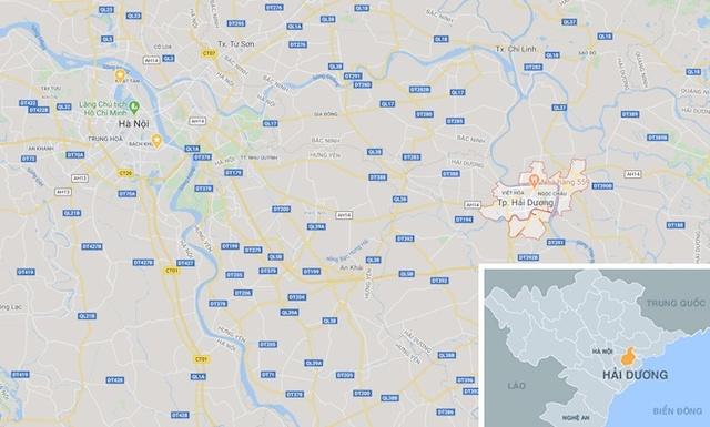 Thành phố Hải Dương (tỉnh Hải Dương) cách trung tâm Hà Nội chừng 60 km. Ảnh: Google Maps.