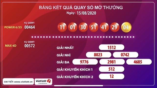 Tờ vé số có 6 cặp số 11-01-30-51-41-29 trùng với kết quả quay số.