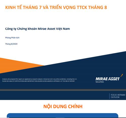 MASVN: Kinh tế tháng 7 và triển vọng TTCK tháng 8