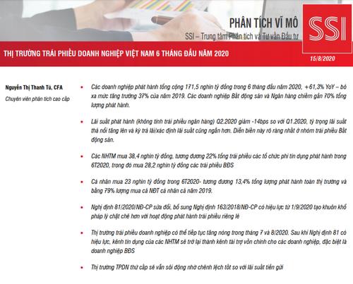 SSI Research: Thị trường trái phiếu doanh nghiệp Việt Nam 6 tháng đầu năm