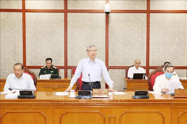 rần Quốc Vượng, Ủy viên Bộ Chính trị, Thường trực Ban Bí thư phát biểu chỉ đạo tại cuộc làm việc của Bộ Chính trị với Ban Thường vụ Tỉnh uỷ Bình Thuận, sáng 21/8/2020.
