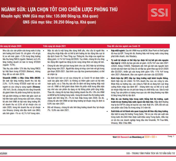 SSI Research: Ngành sữa - Lựa chọn tốt cho chiến lược phòng thủ