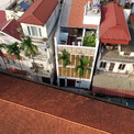<p> Nhà được xây dựng như một nhà nghỉ bốn tầng. Tầng một được sử dụng làm gara, bếp, phòng ăn và các không gian chức năng phụ.</p>
