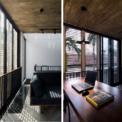<p> Toàn bộ mặt tiền của ngôi nhà hướng về phía Tây, được thiết kế như một bức bình phong khổng lồ. Khi kết hợp với cửa sổ khung nhôm sơn tĩnh điện dạng trượt và lan can bằng thép không gỉ, các ô cửa sổ tạo ra nhiều không gian đa dạng trong ngôi nhà.</p>