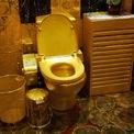<p> Phòng tắm siêu xa xỉ này trị giá 3,5 triệu USD, được xây dựng vào năm 2001 bởi ông trùm trang sức Trung Quốc Law Sai-wing trong dinh thự Swisshorn Gold Palace nổi tiếng của mình ở Hong Kong. Bồn vệ sinh trong phòng tắm này lập kỷ lục Guinness với giá đắt đỏ nhất thế giới, được làm từ vàng ròng 24 carat. Trong khi đó, trần nhà được đính hàng nghìn viên đá quý.</p>