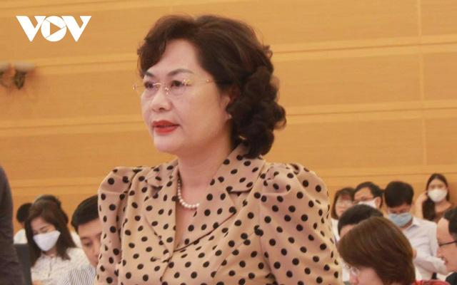 Phó Thống đốc NHNN Nguyễn Thị Hồng phát biểu tại cuộc họp báo Chính phủ thường kỳ tháng 8/2020.