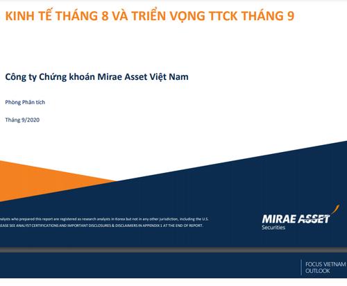 MASVN: Kinh tế tháng 8 và triển vọng thị trường chứng khoán tháng 9