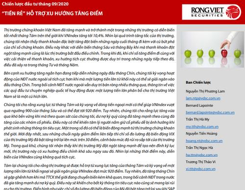 VDSC: Báo cáo chiến lược tháng 9 - 'Tiền rẻ' hỗ trợ xu hướng tăng điểm