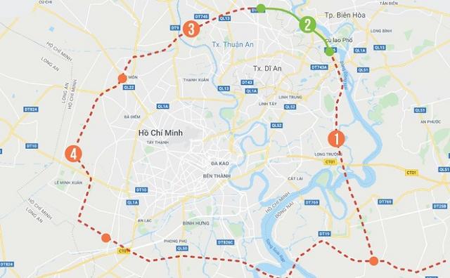 Sơ đồ tuyến đường vành đai 3 của TP.HCM. Ảnh: Phượng Nguyễn.