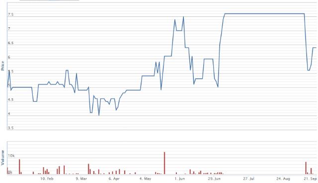 Diễn biến giá cổ phiếu DSC từ đầu năm đến nay. Nguồn: VNDirect.