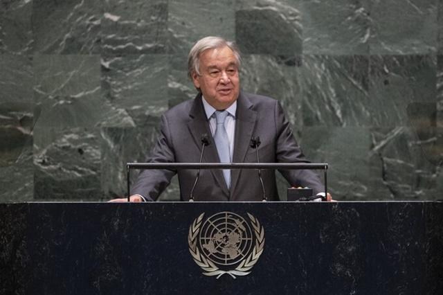 Tổng thư ký Liên Hợp Quốc Antonio Guterres phát biểu tại Liên Hợp Quốc ở New York, Mỹ, ngày 22/9. Ảnh: AFP.