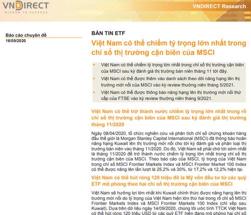 VNDirect: Bản tin ETF - Việt Nam có thể chiếm tỷ trọng lớn nhất trong chỉ số thị trường cận biên của MSCI