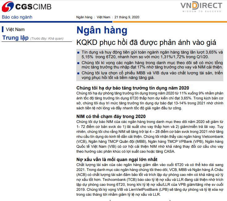 VNDirect: Báo cáo ngành ngân hàng - KQKD phục hồi đã được phản ánh vào giá