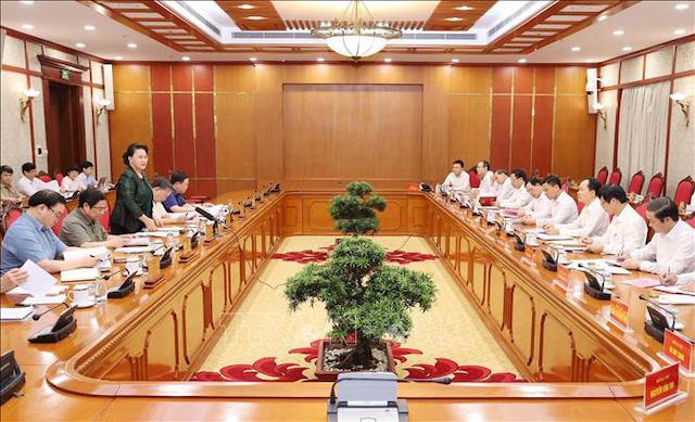 Ủy viên Bộ Chính trị, Chủ tịch Quốc hội Nguyễn Thị Kim Ngân chủ trì cuộc làm việc của Bộ Chính trị với Ban Thường vụ Tỉnh ủy Thanh Hóa - Ảnh: TTXVN.