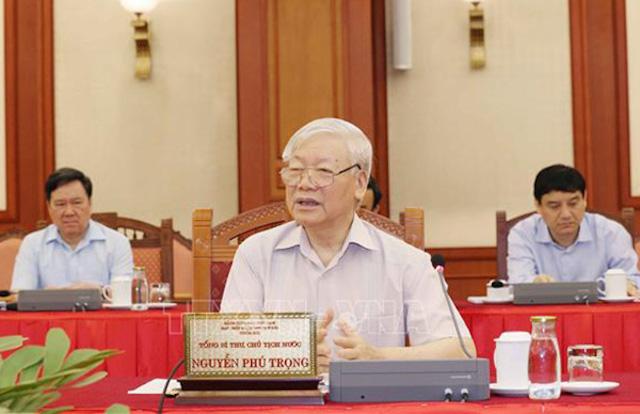 ổng Bí thư, Chủ tịch nước Nguyễn Phú Trọng chủ trì buổi làm việc của tập thể Bộ Chính trị với Ban Thường vụ Đảng ủy Công an Trung ương - Ảnh: TTXVN