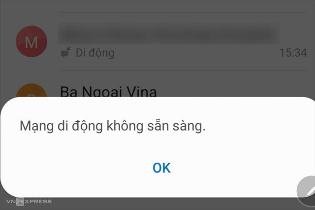 Mạng MobiFone đang gặp sự cố