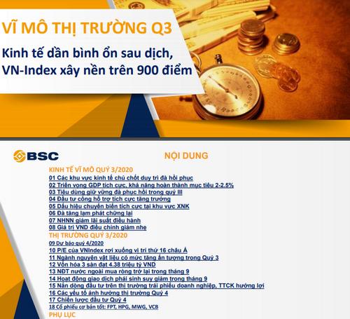 BSC: Vĩ mô thị trường quý III - Kinh tế dần bình ổn sau dịch, VN-Index xây nền trên 900 điểm